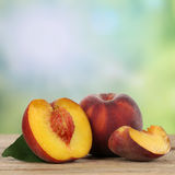 Healthy peaches fruits with copyspace Stock Photo