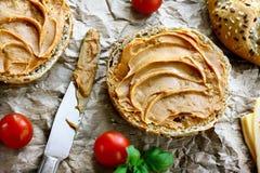 Healthy peanut butter sandwich. Healthy sandwich made of wholegrain bread roll and peanut spread Stock Image