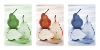 Healthy pears on wooden background, triptych in green, red and blue Royalty Free Stock Image