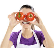Healthy people: Tomato woman Stock Photo