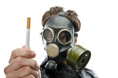 A healthy person refusing to smoke. Isolate over white background Stock Photography