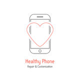 Healthy phone branding with red line heart Royalty Free Stock Images