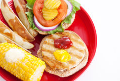 Healthy Picnic Food - Turkey Burger Stock Image