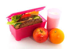 Healthy pink lunch box Royalty Free Stock Photography