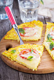 Healthy pizza on cauliflower crust. Healthy pizza with mozzarella and tomatoes on cauliflower crust Royalty Free Stock Photo