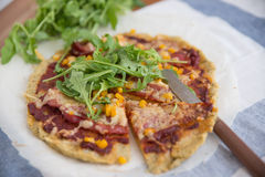 Healthy pizza with quinoa crust Stock Photography