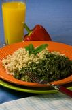 Healthy Plate of Barley and Collard Greens Royalty Free Stock Images