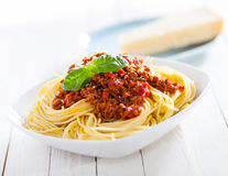 Healthy plate of Italian spaghetti Stock Photos