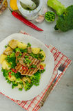 Healthy Pork Escalope with Super Greens Stock Photos
