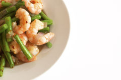 Healthy prawn and green bean salad Royalty Free Stock Photo