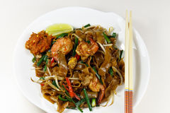 Healthy prawn noodle. Singapore style healthy prawn noodle on a white plate stock photography
