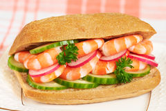 Healthy prawn sandwich Stock Photography