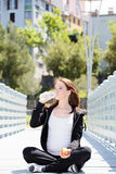 Healthy Pregnant Woman Drinking Water Stock Photo