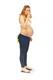 Healthy pregnant woman on scale Stock Photography