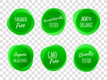 Healthy product package vector green labels. Paraben free green labels or dermatologically and clinically tested with 100 percent organic ingredients. Vector royalty free illustration