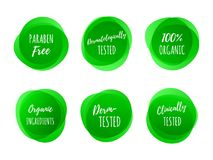 Healthy product package vector green labels. Paraben free, dermatologically clinically tested and 100 percent organic ingredients green labels. Vector logo icons vector illustration