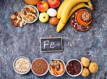 Healthy product sources of iron royalty free stock images