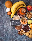 Healthy product sources of iron stock images