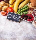 Healthy products sources of carbohydrates. stock photos