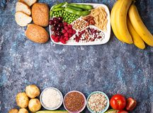 Healthy products sources of carbohydrates. Products sources of carbohydrates. Healthy carbs food. Top view stock images