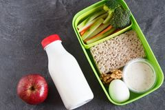 Healthy protein and veg diet snack box for lunch. With egg, nuts, multigrain crackers and vegetables Stock Photos