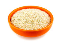 Healthy psyllium husks in bowl on white Royalty Free Stock Photos