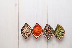 Healthy pulses products chick-pea, lentil, beans and peas Royalty Free Stock Image