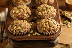 Healthy pumpkin muffins with seeds Stock Photo