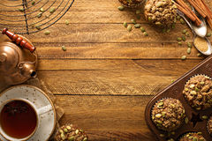 Healthy pumpkin muffins with seeds fall background royalty free stock photo