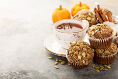 Healthy pumpkin muffins with tea and spices Royalty Free Stock Photography