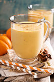 Healthy pumpkin smoothie in big mugs Royalty Free Stock Photos