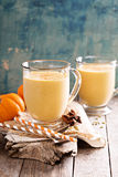 Healthy pumpkin smoothie in big mugs Royalty Free Stock Images