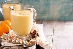 Healthy pumpkin smoothie in big mugs Royalty Free Stock Image