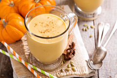 Healthy pumpkin smoothie in big mugs Stock Photography