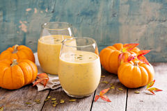 Healthy pumpkin smoothie with chia seed in glasses Royalty Free Stock Images