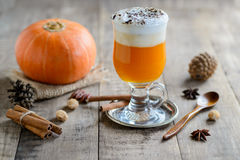 Healthy pumpkin smoothie in glasses Royalty Free Stock Image