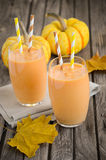 Healthy pumpkin smoothie Royalty Free Stock Images