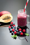 Healthy purple fruit  juice Stock Photo