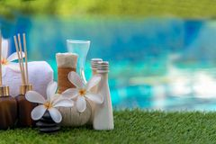 Healthy, putting, putter, recreation, recreational, relax, player, play, outdoor, outside, people, person, rim, shoes, sunny, suns. Spa Thai setting for aroma Stock Image