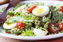 Healthy quinoa salad with tomatoes, avocados, eggs, herbs Royalty Free Stock Images