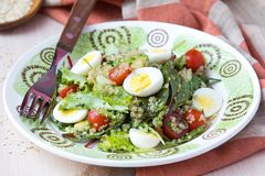 Healthy quinoa salad with tomatoes, avocados, eggs, herbs. Lettuce, lemon, diet dish Stock Photo