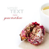Healthy raspberries cookie with oatmeal and cup of green tea on Stock Photography