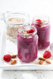 Healthy raspberry smoothie with oatmeal, vertical. Closeup Royalty Free Stock Photography