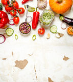 Healthy raw food . Fresh organic vegetables with herbs. Stock Photography