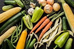 Healthy raw summer vegan vegetables and herbs, carrots, corn, pepper, potatoes, zucchini, green beans. On black stone background. Healthy food, clean eating royalty free stock photos