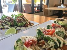 Healthy Raw Vegan Dining Out. Plant based organic, vegan dishes at Christopher`s Gourmet Vegan Cuisine restaurant in Palm Beach Florida stock photography