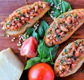 Healthy recipe bruschetta toast topped with vegetables stock photography