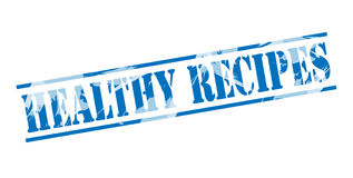 Healthy recipes blue stamp. Isolated on white background Stock Photography