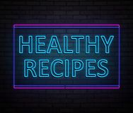 Healthy recipes concept. 3d Illustration depicting an illuminated neon sign with a healthy recipes concept Stock Photo