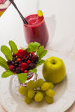 Healthy red smoothie and ingredients - superfoods, detox, diet, health, vegetarian food concept. Royalty Free Stock Image